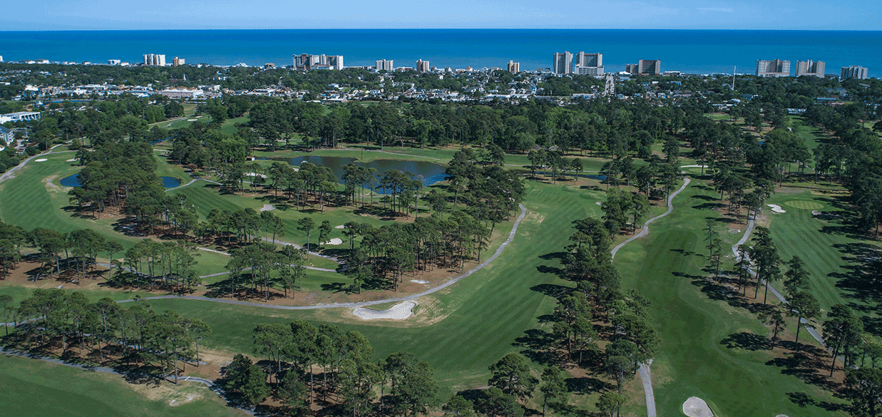 Aerial image of Beachwood with North Myrtle Beach, Atlantic Ocean and Grand Strand in background