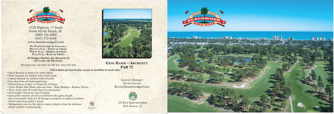 Front of Beachwood Golf Club scorecard