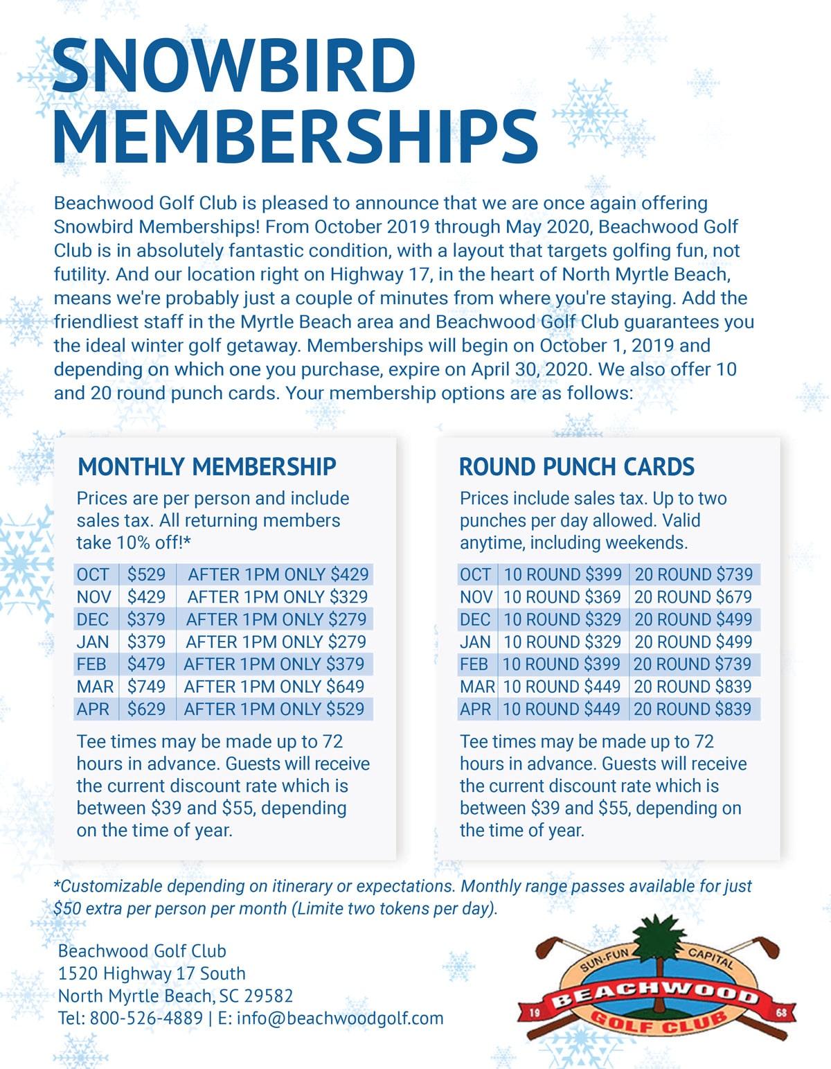 Snowbird Golf Membership for Beachwood Golf Club in North Myrtle Beach